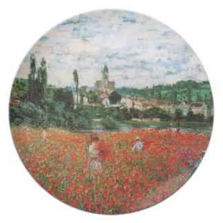Campo de Monet de la placa roja de las amapolas Plato De Comida