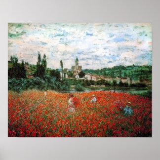 Campo de Monet del poster rojo de las amapolas
