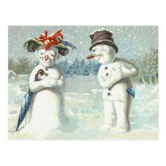 Campo de nieve del invierno de los pares del tarjetas postales
