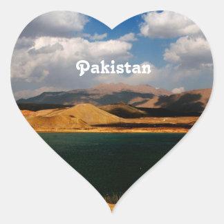 Campo de Paquistán Pegatina En Forma De Corazón
