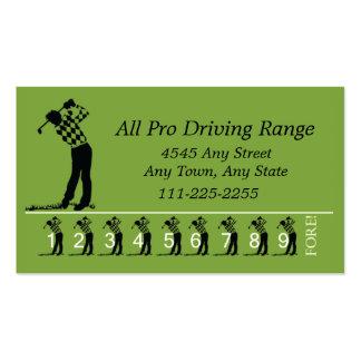 Campo de prácticas del golf - tarjeta de sacador tarjetas de visita
