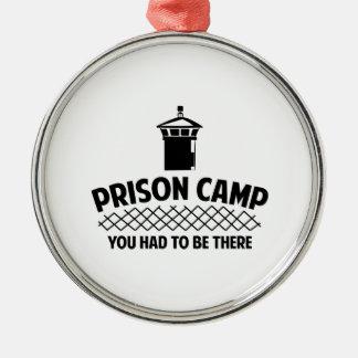 Campo de prisioneros adorno navideño redondo de metal