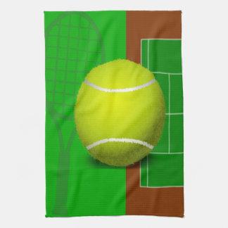Campo de tenis y estafas toalla