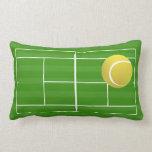 Campo de tenis y pelota de tenis cojin