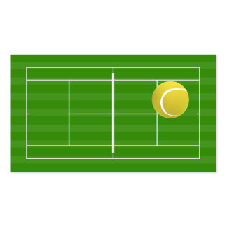 Campo de tenis y pelota de tenis tarjetas de visita