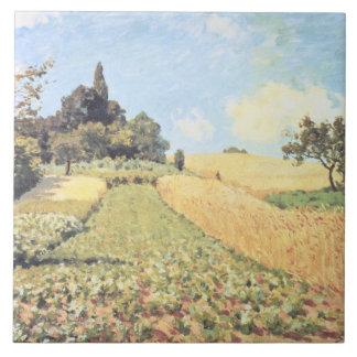 Campo de trigo (aceite en lona) azulejo cuadrado grande