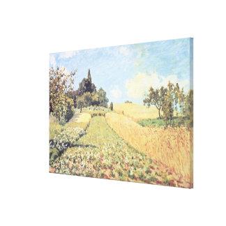 Campo de trigo (aceite en lona) impresiones en lienzo estiradas