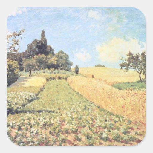 Campo de trigo (aceite en lona) calcomanías cuadradas