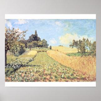 Campo de trigo (aceite en lona) póster