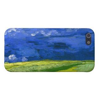 Campo de trigo bajo bella arte nublada de Van Gogh iPhone 5 Fundas