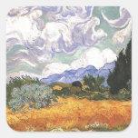 Campo de trigo con Cypress de Van Gogh. Calcomanías Cuadradas