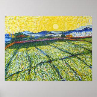 Campo de trigo con el sol naciente póster