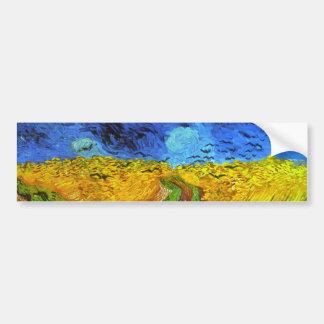 Campo de trigo con la bella arte de Van Gogh de Pegatina Para Auto