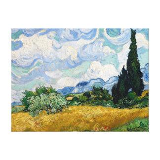 Campo de trigo con la lona de los cipreses impresión en lienzo