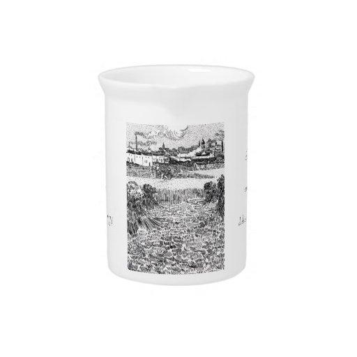 Campo de trigo con las gavillas y Arles Vincent Go Jarrón