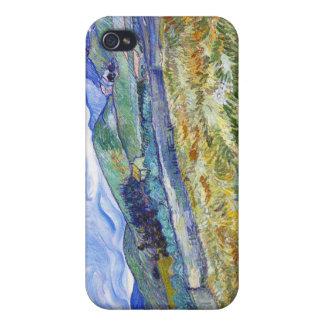 Campo de trigo con las montañas en el fondo iPhone 4 carcasa