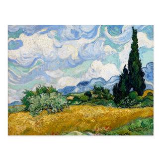 Campo de trigo con los cipreses de Van Gogh Postales