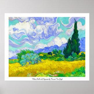 Campo de trigo con los cipreses de Vincent van Gog Posters