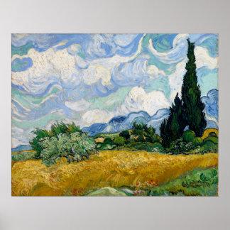 Campo de trigo con los cipreses de Vincent van Gog Poster