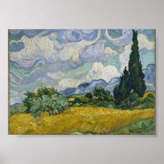 Campo de trigo con los cipreses de Vincent van Gog Póster