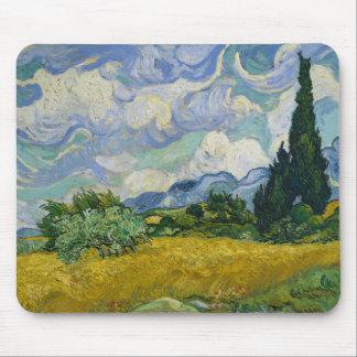 Campo de trigo con los cipreses de Vincent van Gog Alfombrillas De Raton
