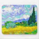 Campo de trigo con los cipreses de Vincent van Gog Alfombrillas De Ratones
