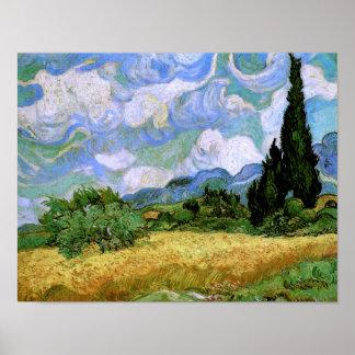Campo de trigo con los cipreses (F717), Vincent va Posters