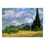 Campo de trigo con los cipreses (F717), Vincent va Felicitaciones