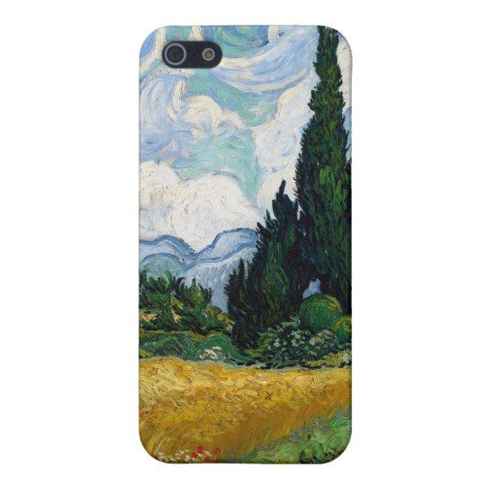 Campo de trigo con los cipreses iPhone 5 carcasa