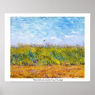 Campo de trigo con una alondra de Vincent van Gogh Póster