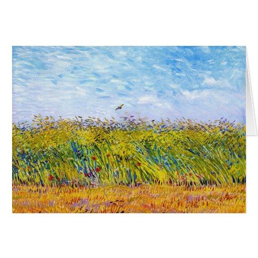 Campo de trigo con una alondra de Vincent van Gogh Tarjetas