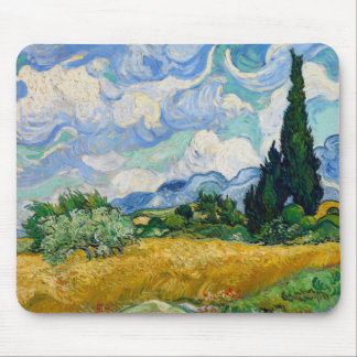 Campo de trigo de Van Gogh con el cojín de ratón Mousepads