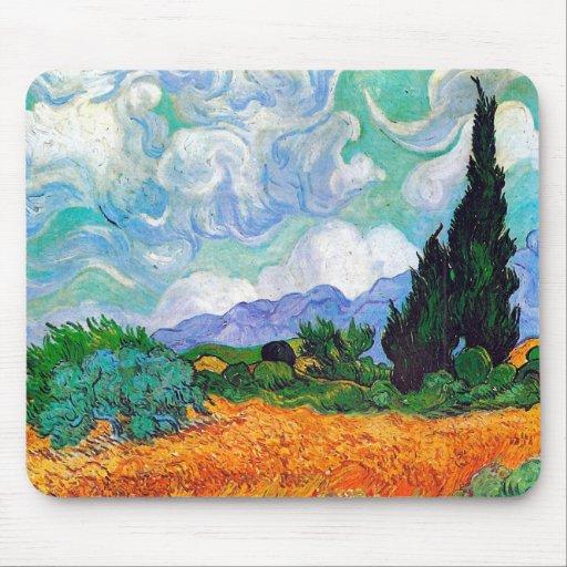 Campo de trigo de Van Gogh con los cipreses (F615) Alfombrilla De Ratón