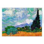 Campo de trigo de Van Gogh con los cipreses (F615) Tarjeton