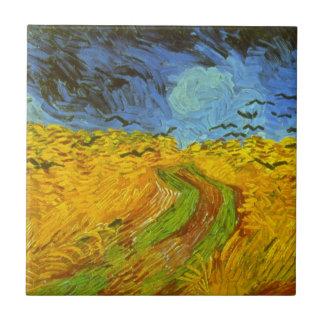 Campo de trigo de Van Gogh con los cuervos, bella Azulejo Cuadrado Pequeño