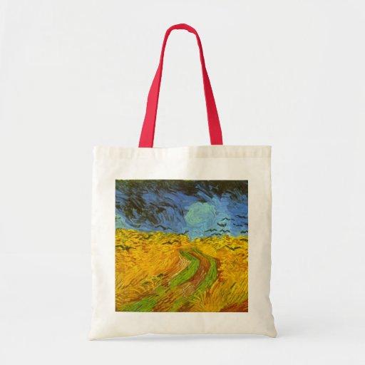 Campo de trigo de Van Gogh con los cuervos, bella Bolsa Tela Barata