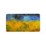 Campo de trigo de Van Gogh con los pájaros de la g Etiqueta De Dirección