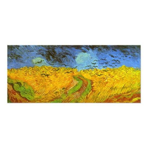 """Campo de trigo de Van Gogh con los pájaros de la Invitación 4"""" X 9.25"""""""