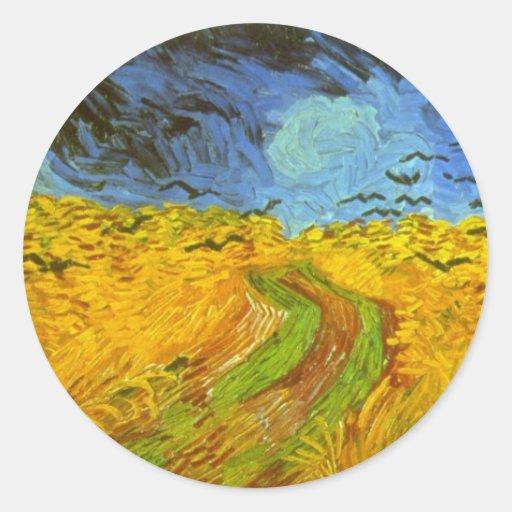 Campo de trigo de Van Gogh con los pájaros de la Pegatina Redonda