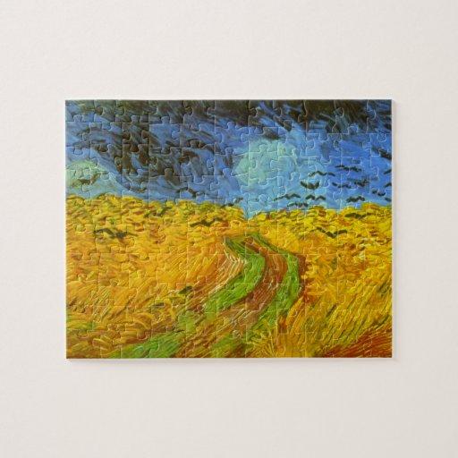 Campo de trigo de Van Gogh con los pájaros de la Rompecabeza