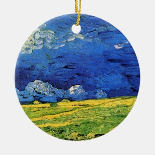 Campo de trigo de Van Gogh debajo de un cielo Adorno Navideño Redondo De Cerámica