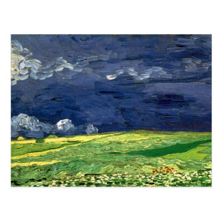 Campo de trigo de Van Gogh debajo del cielo nublad Postales