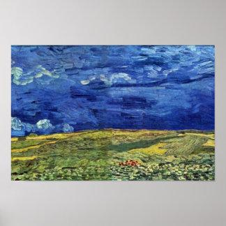 Campo de trigo debajo del cielo nublado de Vincent Póster
