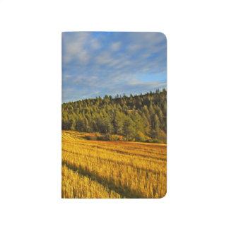 Campo de trigo después de la cosecha cuadernos grapados