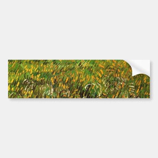 Campo de trigo en Auvers de Van Gogh Etiqueta De Parachoque
