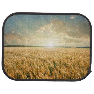 Campo de trigo en puesta del sol alfombrilla de auto