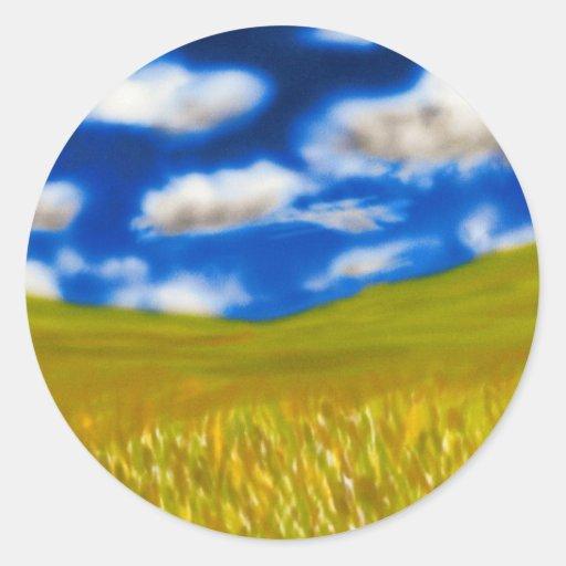 Campo de trigo pegatinas redondas