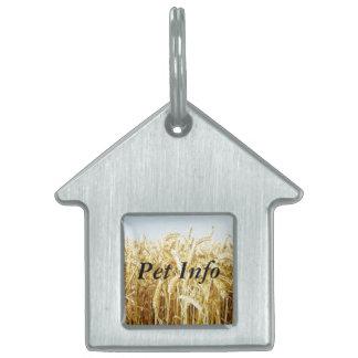 Campo de trigo placas de nombre de mascota