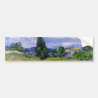 Campo de trigo verde de Van Gogh w Cypress, arte Pegatina Para Auto