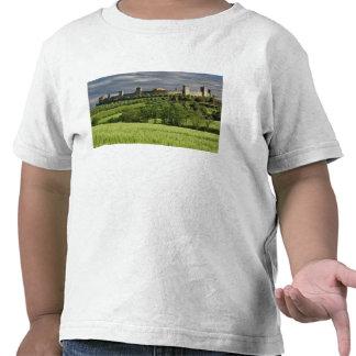 Campo de trigo y Monteriggioni distante, en Camisetas
